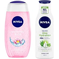 NIVEA Shower Gel, Waterlilly & Oil, 250ml & Aloe Hydration Body Lotion, 200ml, with deep moisture serum and aloe vera for normal skin Combo