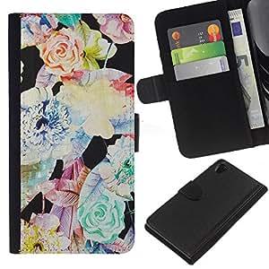 KingStore / Leather Etui en cuir / Sony Xperia Z2 D6502 / Flor Vignette Arte Modelo en colores pastel