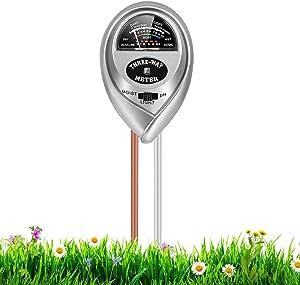 RileyKyi Soil PH Meter 3in1 Soil MoistureLightpH Tester Gardening Tool Kits for Plant Care for Garden Lawn Farm Indoor Outdoor Use, Silver, 1 Fl Oz