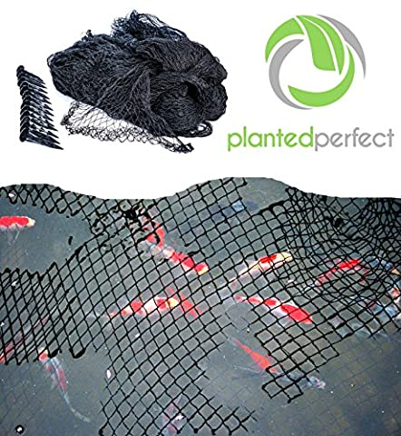 15 x 20 FT POND NET COVER - Easy Setup Pool and Fishpond Nylon Netting Protects Fish, Ponds and Koi from Birds and Leaves - Durable, See-Through Safety Covers Keeps Backyard Water Gardens - Plastic Lily Tub
