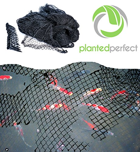 COVER - Easy Setup Pool and Fishpond Nylon Netting Protects Fish, Ponds and Koi from Birds and Leaves - Durable, See-Through Safety Covers Keeps Backyard Water Gardens Beautiful (Pond Cover Net)