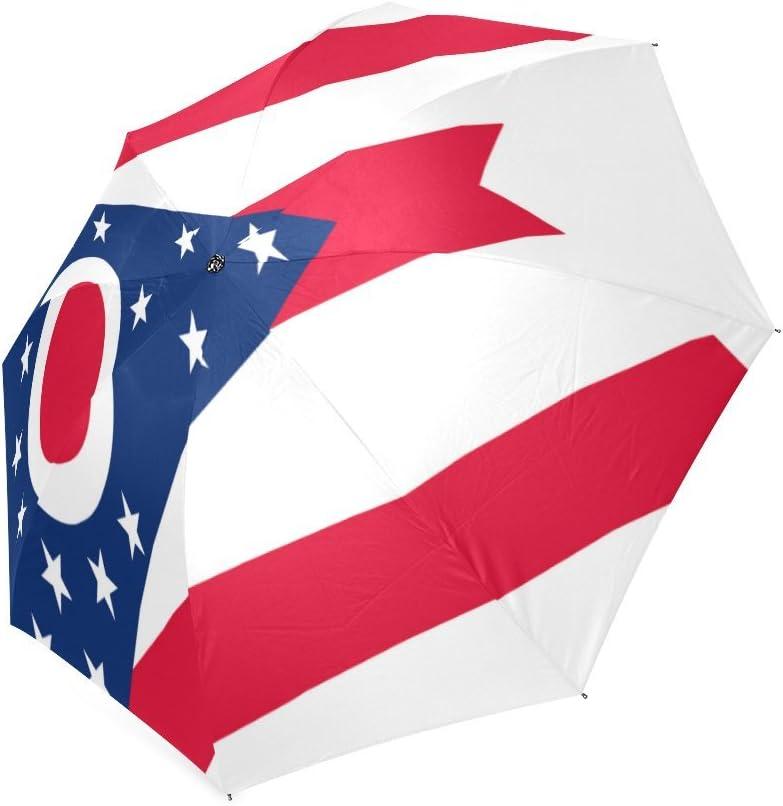 Custom Ohio State Flag Compact Travel Windproof Rainproof Foldable Umbrella