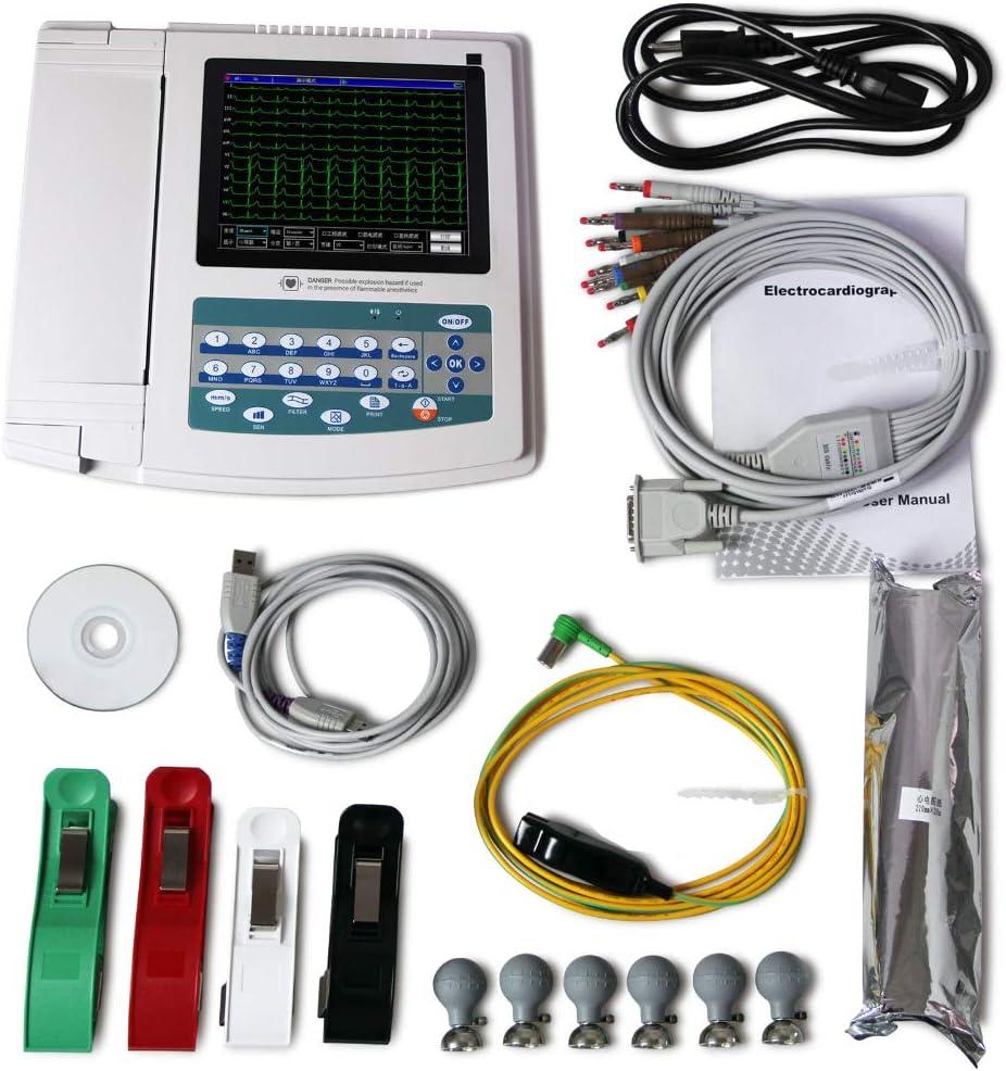 SISHUINIANHUA Toque portátil de ECG/EKG máquina ECG1200G, Impresora y Papel, 12 Canal 12 Conductores de la FDA, CE,EU