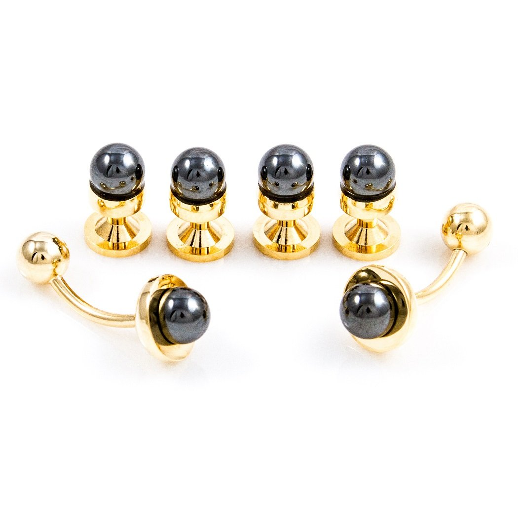 MRCUFF Simulated Black Pearl Tuxedo Cufflinks & Studs Set in a Presentation Gift Box & Polishing Cloth
