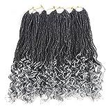 Senegal Wavy Twist Goddess Crochet Senegalese Twist Synthetic KaneKalon Braiding Hair Extention Senegalese Twist Hair 6 Packs (18 inch, T1B/Grey)