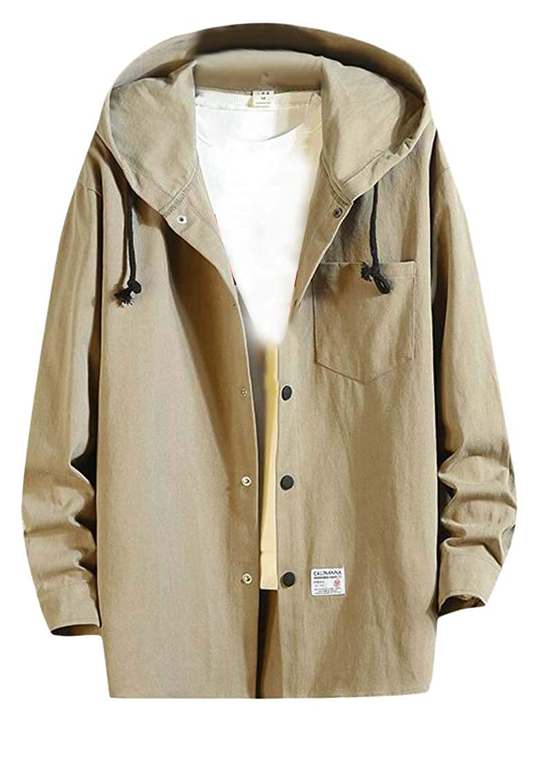 Etecredpow Mens Plus Size Pocket Drawstring Hooded Casual Button Front Shirts