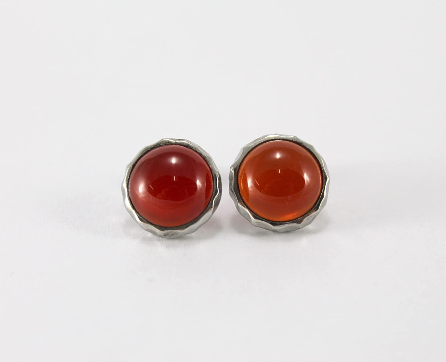 Red Agate Gemstone Round Shape Earring Studs Hammering Texture Design