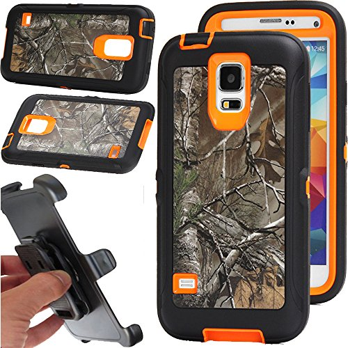 For Samsung galaxy S5 Case, Kecko Rugged Heavy Duty Shockproof Dirtproof Military Grade Drop Scratch Resistant Hybrid Bumper Full Body Protective Case with Belt Clip Holster and Built-in Screen Protective for Samsung galaxy S5. Camo Forest/Tree/Grass/Xtra on the Orange/Black/Green/Pink/Blue/Purple (Xtra orange) (Cases Samsung Camo Phone)