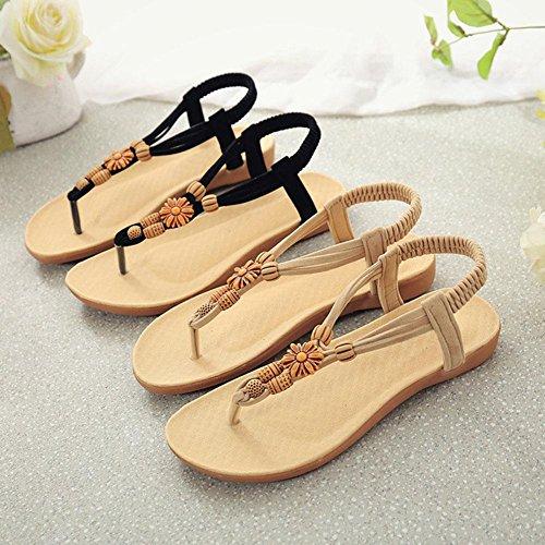Black Sandalias Tamaño Gran La Bohemia Cuentas Con Zapatos Plana De Playa Correa Planas FqUPw7Fx