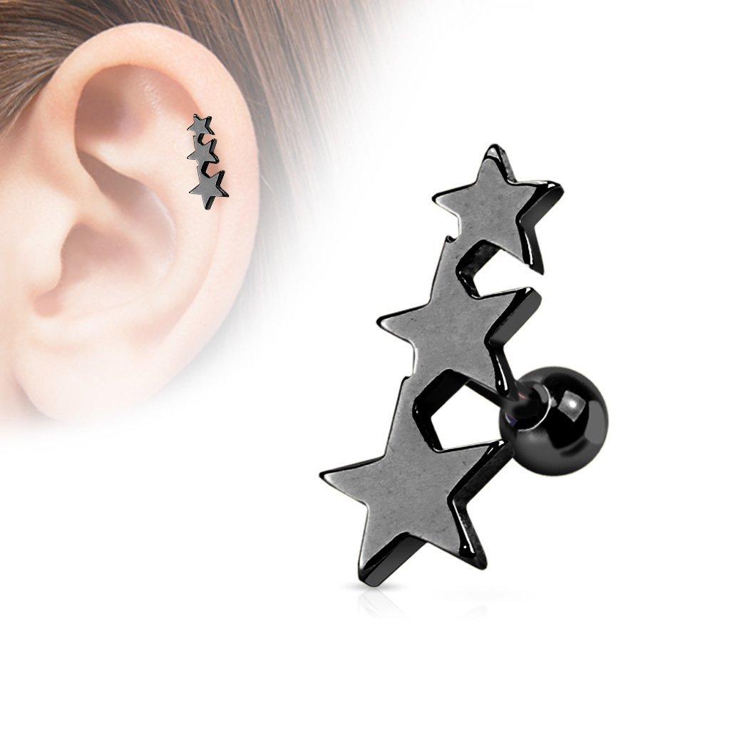 Fifth Cue 16G Three Stars Titanium IP Over 316L Surgical Steel Tragus Cartilage Piercing Stud FifthCue JQJA1016-ALL