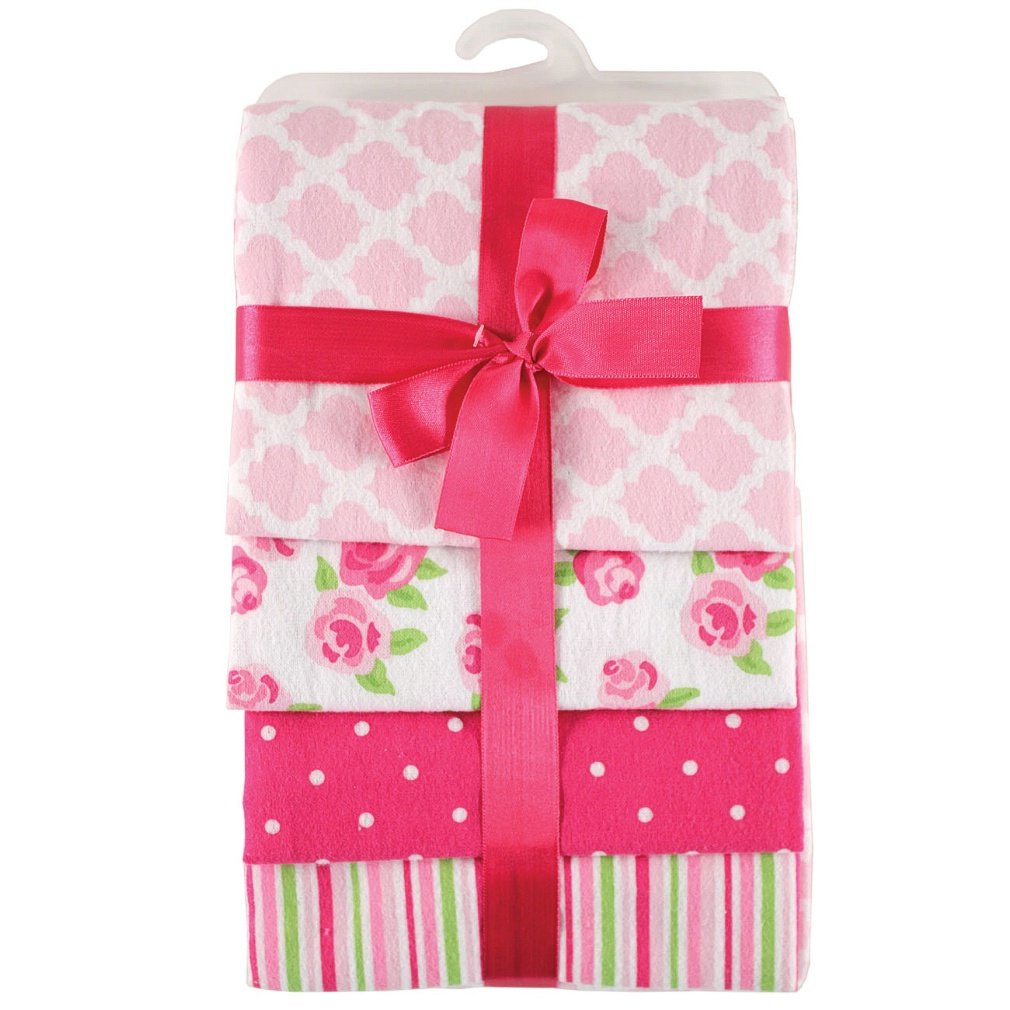 Hudson Baby Unisex Baby Cotton Flannel Receiving Blankets, Pink Rose, One Size