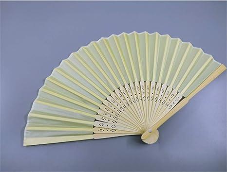 Marbeine - Abanico de Tela de Seda Plegable + bambú con ...