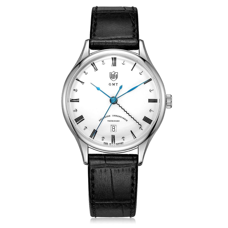 Dufa Deutsche Uhrenfabrik Unisex-Armbanduhr Analog Quarz Leder Weimar GMT DF-9006-02