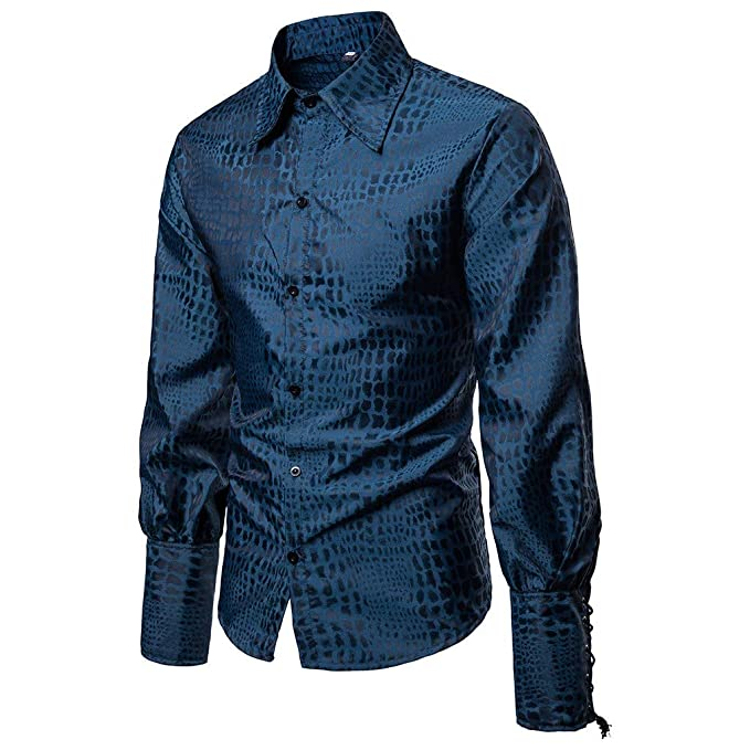 10ef5fa5 Sunnywill Men's Spring Casual Slim Fit Shirts Long Sleeve Button Shirt Top  Printed Blouse Mens Popular