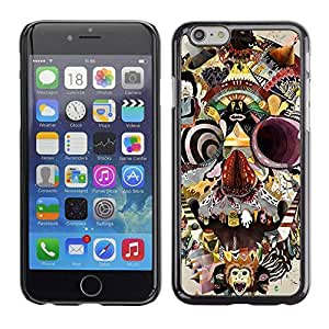 PC/Aluminum Funda Carcasa protectora para Apple Iphone 6 Monkey Circus Clown Skull Crazy Mind / JUSTGO PHONE PROTECTOR