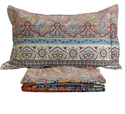"""FADFAY 100% Cotton Bed Sheet Set Boho Style Bedding Sets 4 Piece Bedding Set Floral 1 Fitted Sheet 1 Flat Sheet 2 Pillow Shams Soft Bohemia Stytle Full Size - Package includes: 1 fitted sheet:54''X75''+18''(W*L*H), 1 flat sheet:83''X96'', 2 shams:19''X29"""". The pocket deep is 15.7 inches with one circle HIGH QUALITY elastic, not just the corners, it's one circle! Material:100% brushed cotton, the tread count is over 1000, super soft warm and comfortable, reactive dyeing,fastness. - sheet-sets, bedroom-sheets-comforters, bedroom - 61gkRc2t6vL -"""