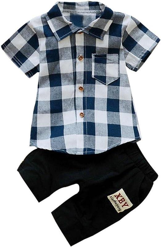 Toddler Baby Kids Boy Outfits Plaid Jacket Top T-shirt Denim Pants Tracksuit Set