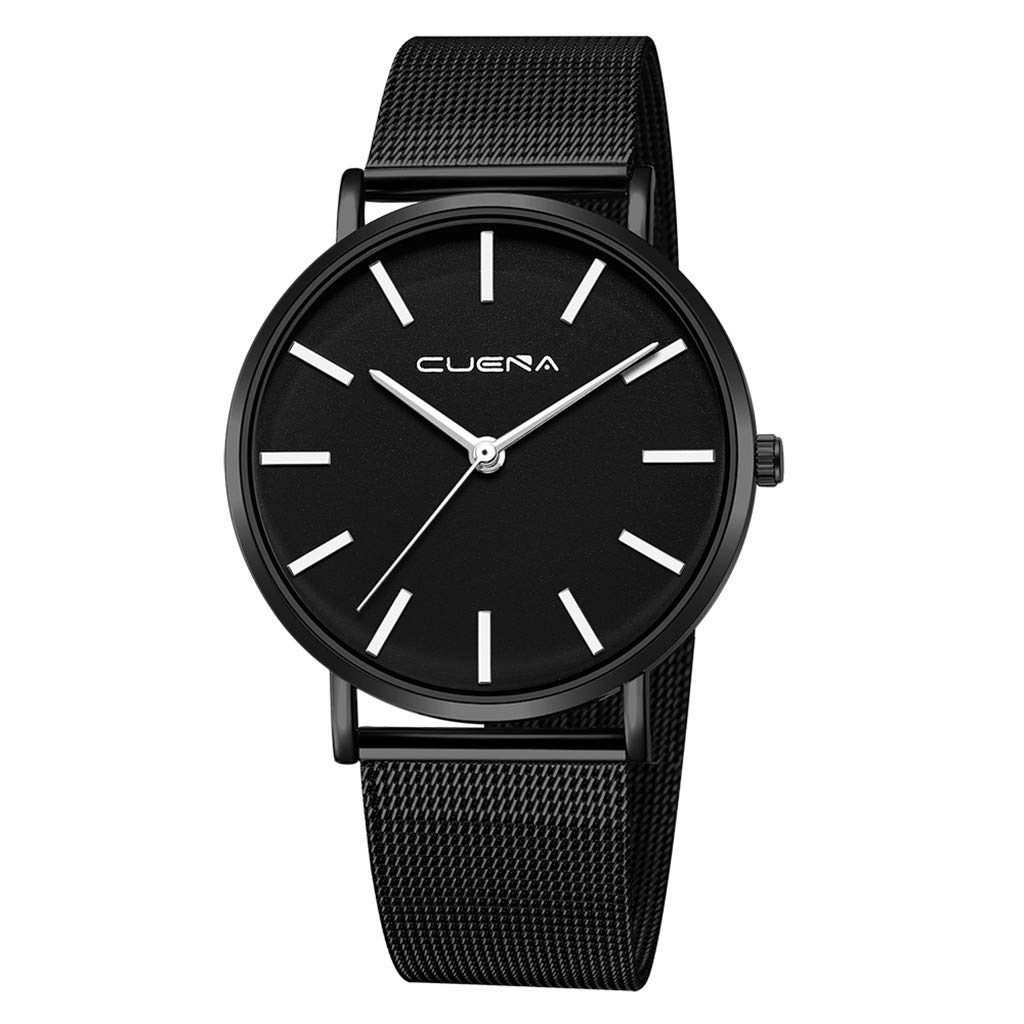 XBKPLO Mens Quartz Watch,Numeral Business Fashion Analog Wrist Minimalist Watches Stainless Steel Mesh Strap