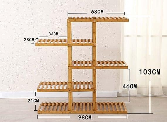 AIDELAI estante de flores de bambú para múltiples pisos, cesta de radish verde, balcón, sala de estar, estante de flores para interiores, patio, jardín, pergolas: Amazon.es: Jardín