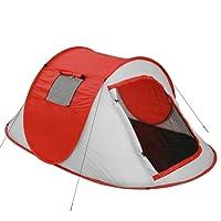 Jago Strandmuschel Campingzelt | Pop-Up Wurfzelt für 2 Personen ca. 219/130/82 cm | UV Schutz | Minipackmaß | Strandzelt | Sonnenschutz | in Cherry Tomato