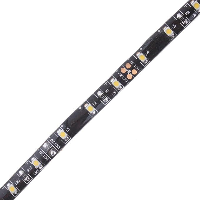 Kunststoff 1.1 W Seki Streifen 30cm 12V warmwei/ß Innenraumbeleuchtung Auto KFZ IP65 Spritzwassergesch/ützt 1 Meter Anschlussleitung LED-Leuchtmittel