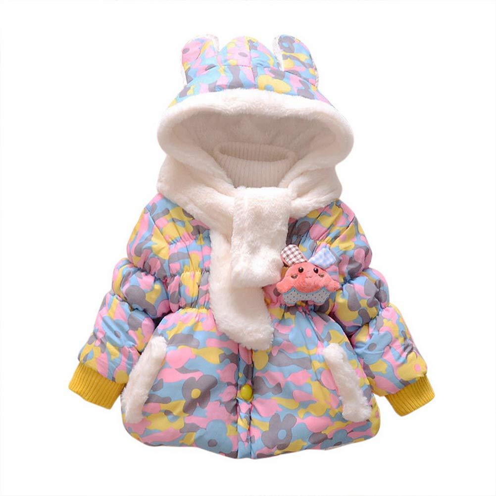 ARAUS Cappotto con Cappuccio da Neonata Zip Up Piumino con Pelluccia Impermeabile Incappucciato Pesante Inverno 0-4 Anni 9660P10