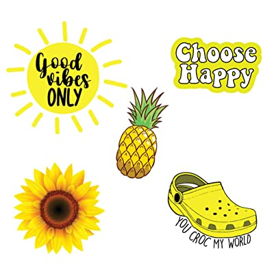 Pack of 5 Cute hydroflask Stickers for Teens, Yellow Stickers for Laptop Hydro Flasks Water Bottles Hydro Flask Stickers vsco Girls and Teens: Computers & Accessories