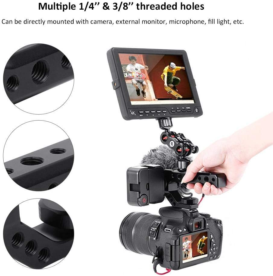 Yoidesu Camera Top Handle Grip,Top Handle with 3 Independent Cold Shoe Mount,1//4 inch and 3//8 inch Mounting Points,Universal Video Stabilizing Rig