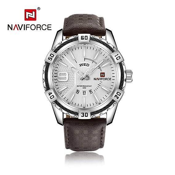HWCOO Relojes NAVIFORCE 9117L Reloj de Cuarzo de los Hombres Reloj Luminoso Puntero Impermeable Reloj (Color : 1): Amazon.es: Relojes
