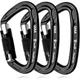 Favofit UIAA Certified Climbing Carabiners (Certificate No.: USA 20-5611), 3 Pack, 25KN (5620 lbs) Heavy Duty Large Locking Carabiner Clips for Rock/Ice Climbing Rappelling Rescue Swing etc.