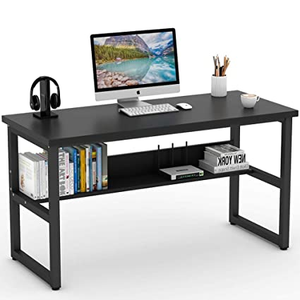 Tribesigns Computer Desk With Bookshelf 55quot Simple Modern Style Writing Metal Legs