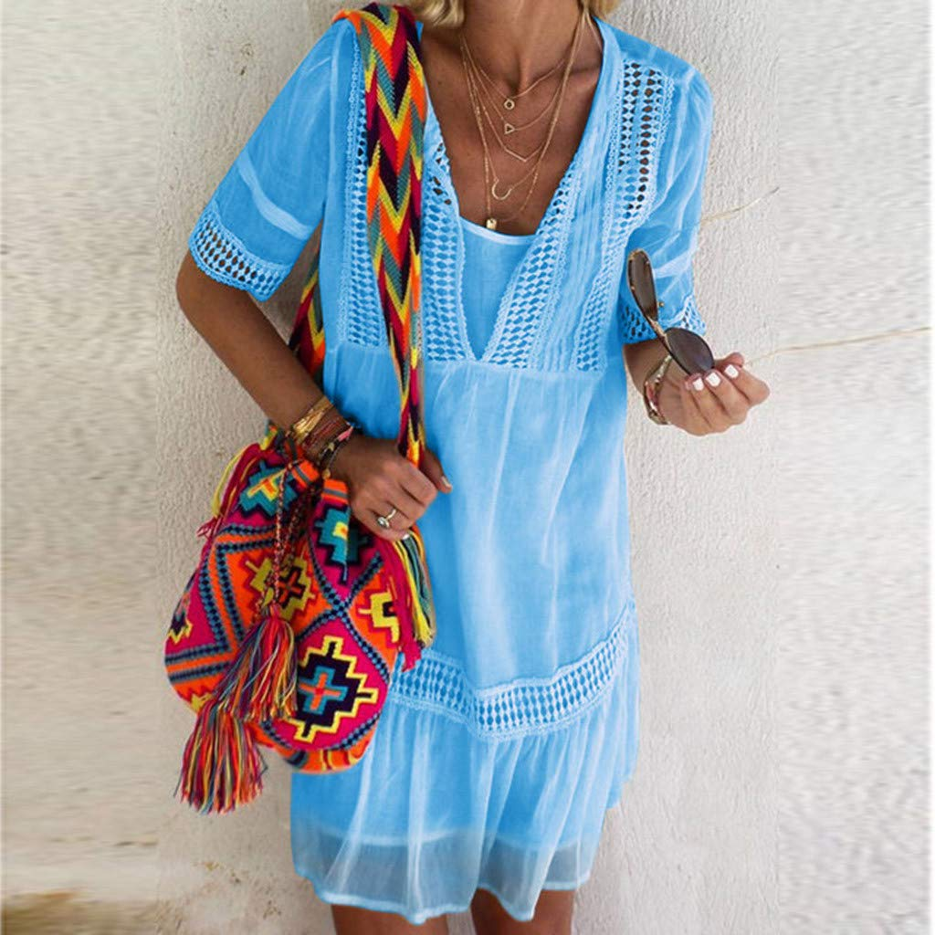 UFACE 2019 Damen Kleider Elegante Sommer Mode Casual Solide Kurzarm V-Ausschnitt Spitze Patchwork Beil/äufige Lose Strand Mid Dress