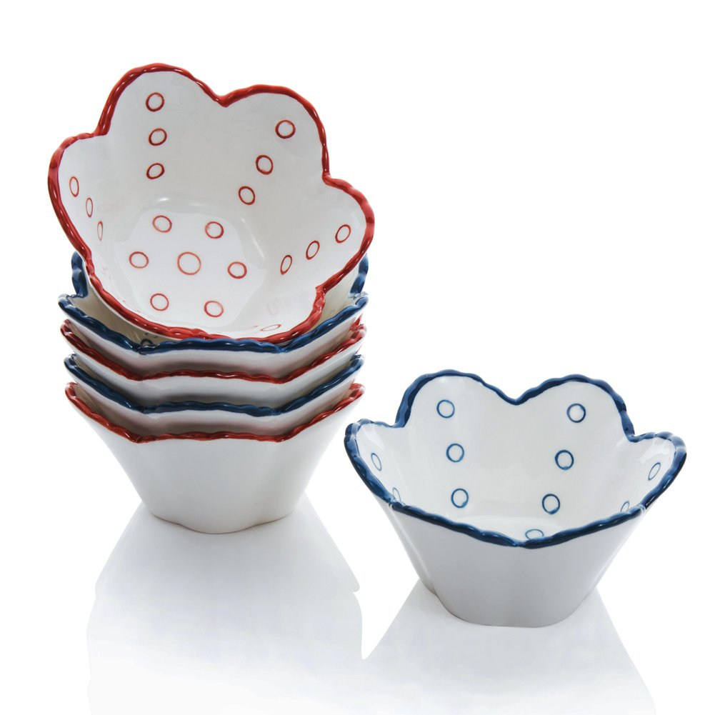 Hoomeet 4 oz Porcelain Ramekins, Dessert Bowls, Ice Cream Bowls, Snack Bowls, Dipping Bowls, Set of 6, Flower Shaped. (Red+Blue)