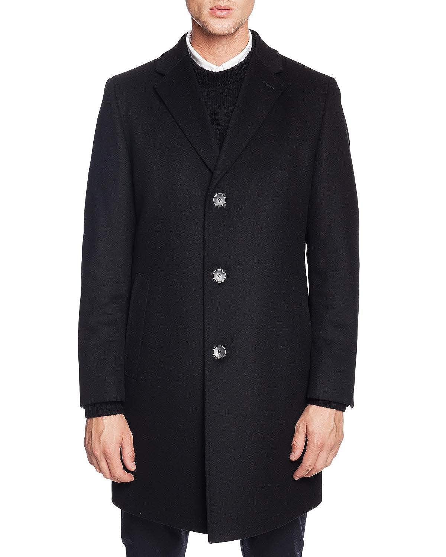 Hugo Boss Mens Stratus Wool-Cashmere Black Coat