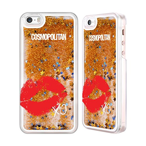 Official Cosmopolitan XO Kiss Mark Gold Liquid Glitter Case Cover for Apple iPhone 5 / 5s / SE