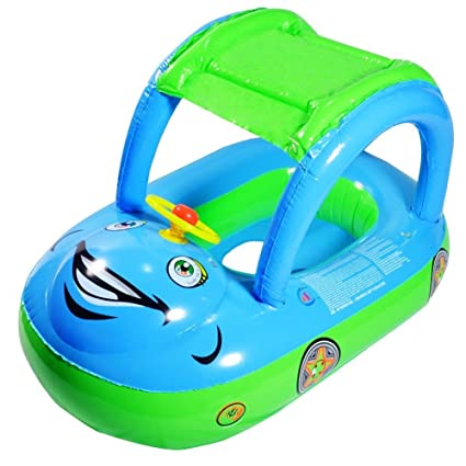 Amazon.com: HmiL-U Baby Water Floats Toys with Inflatable Canopy Sunshade Swimming Pool Boat for Age of 6-36 Months Old Baby (Blue car): Toys & Games