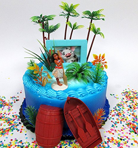 Moana Deluxe Island Themed Birthday Cake Topper Set Featurin