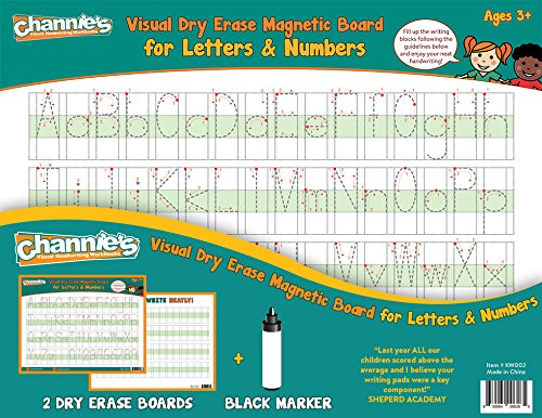 "Channies 2-Pack Visual Dry Erase Magnetic Boards with Marker, Tracing, Printing, and Writing Alphabet, Letters, and Numbers, Size 8.5"" x 11"", Ages 3 and Up, PreK – 3rd"