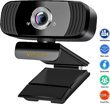 Vasea Webcam con micrófono, HD 1080P Web Cam para PC portátil, Plug and Play, cámara web USB, gran angular 360° Streaming Cámara para videollamadas, grabaciones, conferencias, juegos, YouTube, Skype: Amazon.es: Electrónica