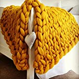 Yellow Chunky Knit Blanket,Arm Knit Blanket, Wool Blanket,Super Chunky Blanket,Handmade Blanket ThanksGiving Gift