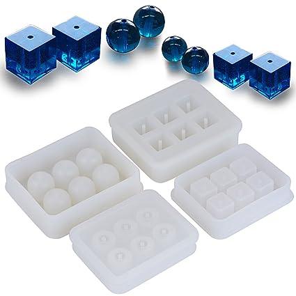 (12 Bolas+12 Cubos) 4 Molde Silicona Bolas Cubos Resina Joyería Pendiente Fabricación