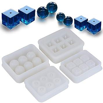 (12 Bolas+12 Cubos) 4 Molde Silicona Bolas Cubos Resina Joyería Pendiente Fabricación Colgante Bricolaje DIY para Resina Yeso Cera Jabón: Amazon.es: Hogar