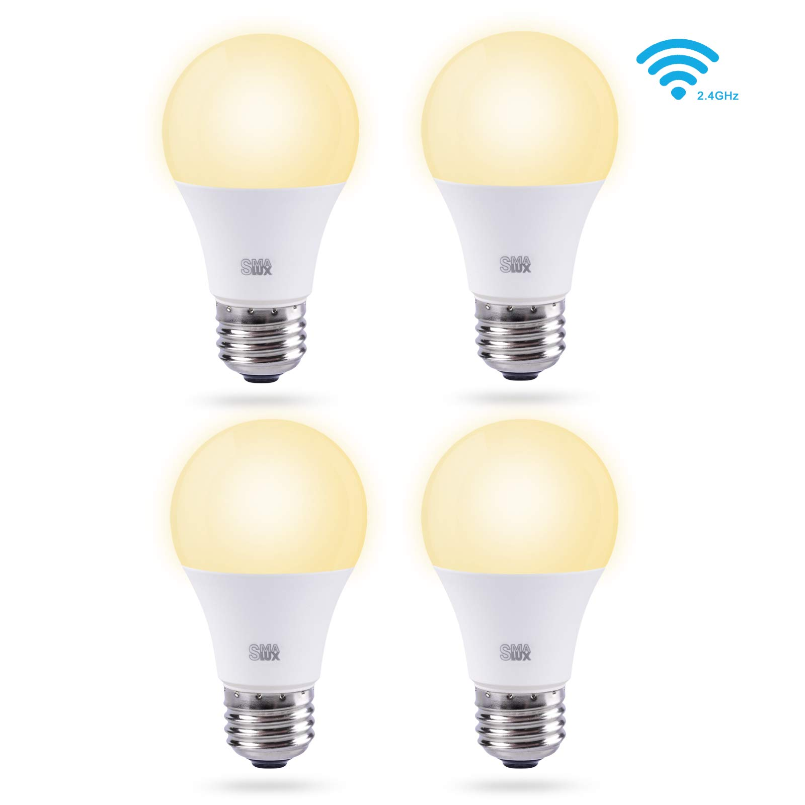 Smalux Smart WiFi LED Light Bulbs 4 Packs A19 E26 Warm White 36W 3200lm Dimmable Smart Home Lighting Bulb,Works with Alexa/Google Home/Smart Life APP,Voice and Remote Control Bulb,No Hub Required