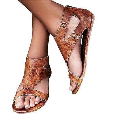 Minetom Damen Sandalen Flache Badesandale Schuhe Flip-Flops Sommer Bequeme Frauen Übergröße Offene Bohemia Retro Mode Casual Shoes Khaki EU 42 zT6hI1S