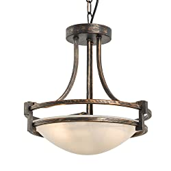 "N3 Lighting 2-Light 13"" Torino Inverted Bowl Pendant Light, Chandeliers Indoor Flush Mount Pendant Lighting Fixture, Oil Rubbed Bronze Finish with Frosted Glass"