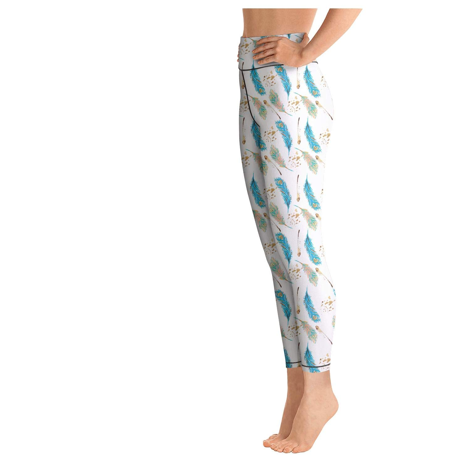 AugGThomas Womens Blue Ostrich Feathers Workout Running Leggins Tummy Control Stretch Yoga Pants with Pockets