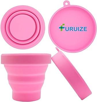 Taza de Esterilización Plegable Furuize. Esterilizador de Copas Menstruales. Silicona de Grado Médico 100%. Color Rosa