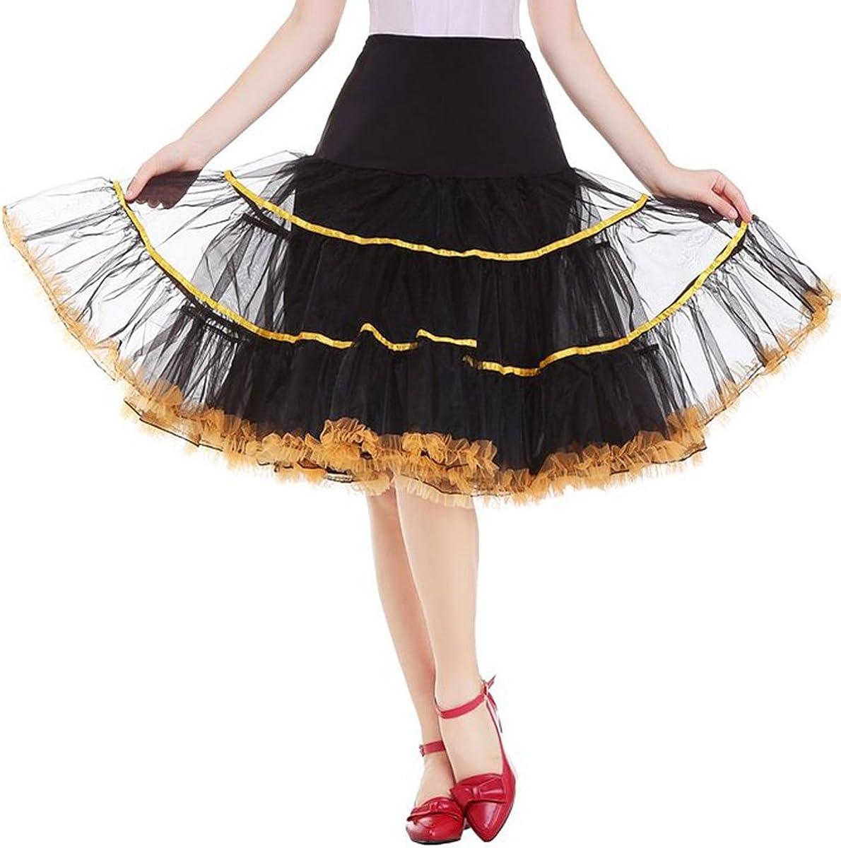 Quesera Womens 50s Vintage Rockabilly Petticoat Half Layered Striped Underskirt