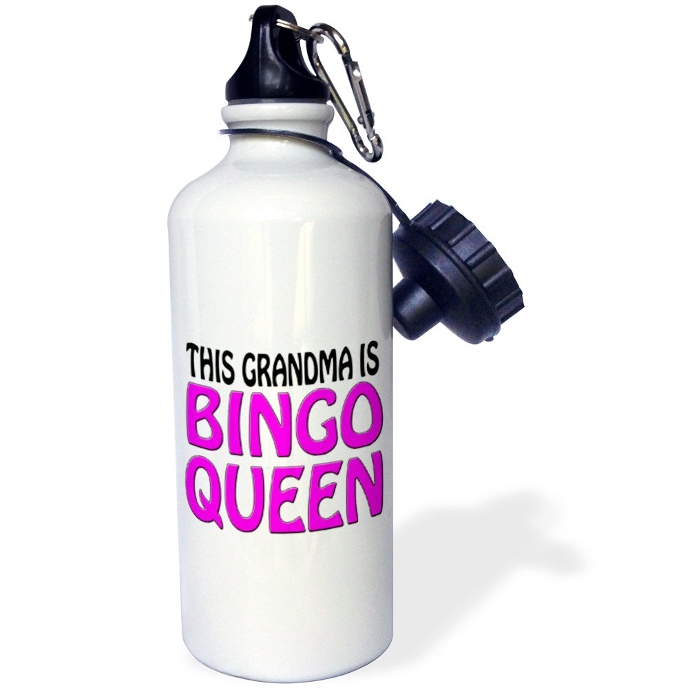 3dRose wb_149770_1 This Grandma Is Bingo Queen, Hot Pink, Sports Water Bottle, 21 oz, White by 3dRose