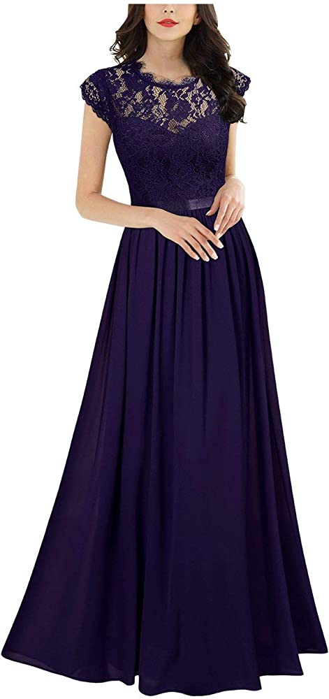 MIUSOL Vestido largo de noche de encaje de gasa para mujer: Amazon ...